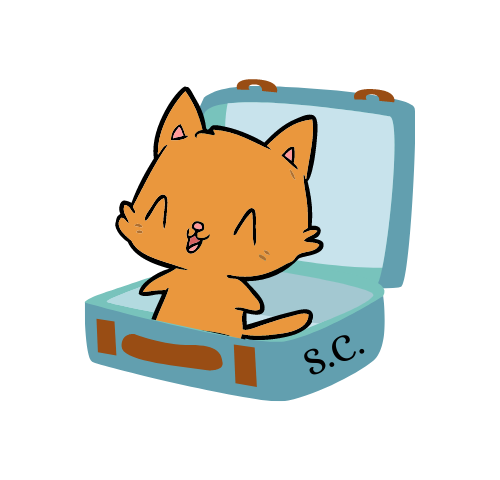 Sarah Czarnecki freelance pet and travel writer, cartoon cat jumping out of a suitcase